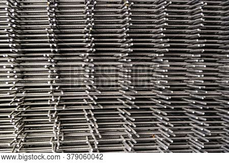 Stack Of Reinforcement Mesh Folded On Each Other View From The Side
