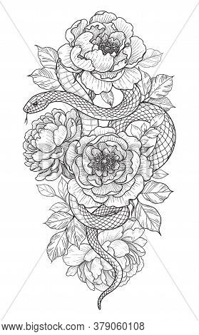 Hand Drawn Twisted Snake And Peonies Isolated On White. Vector Monochrome Serpent With Flowers And L