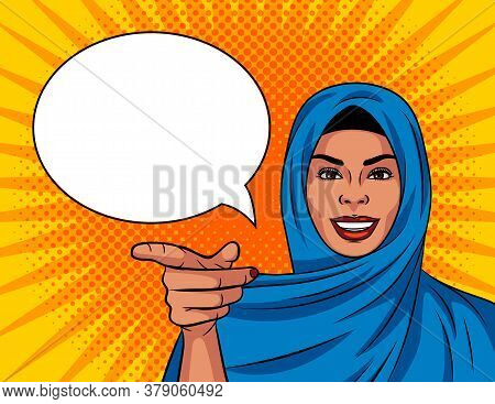 Colored Vector Illustration In Pop Art Comic Style. Beautiful Muslim Woman In A Traditional Shawl On