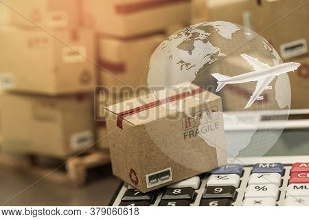 Small Papers Boxes And Calculator With A Plane Flies Above World Map. For Ideas About Transportation