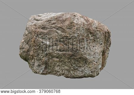 Huge Cobblestone On An Isolated Gray Background.