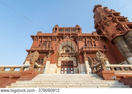 Cairo, Egypt- July 30 2020: Low Angle View Of Front Facade Of Baron Empain Palace, A Historic Mansio