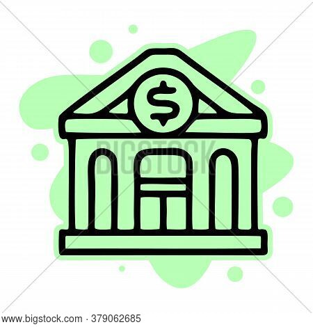 Bank Icon Isolated On White Background From Money And Currency Collection. Bank Icon Trendy And Mode