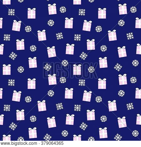 Christmas Pink Navy Holiday Seamless Pattern Background