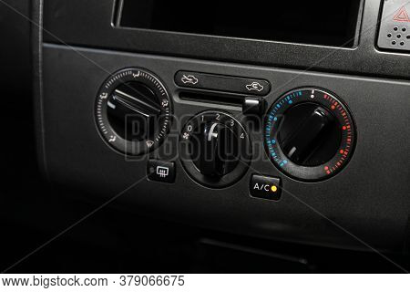 Novosibirsk/ Russia - July 26 2020: Nissan Tiida Latio, Close Up Of  Car Panel With The Air Conditio