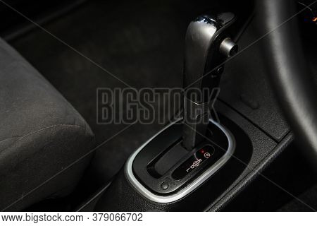 Novosibirsk/ Russia - July 26 2020: Nissan Tiida Latio, Close Up Of The Manual Gearbox Transmission