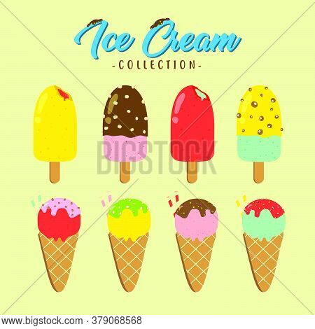 Various Flavor Of Ice Cream Vector Design Collection, Can Be Use To Make Poster