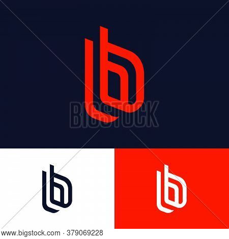 B Letters On Different Backgrounds. Double B Monogram Consist Of Red Elements. This Logo Can Be Used