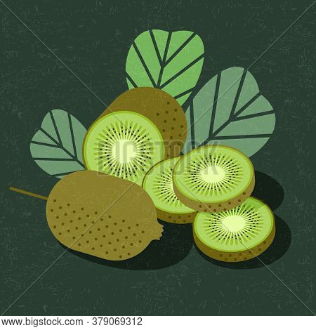 Kiwi Fruit For Poster Or Packaging. Whole And Sliced Kiwi Fruits With Leaves On Shabby Background. O