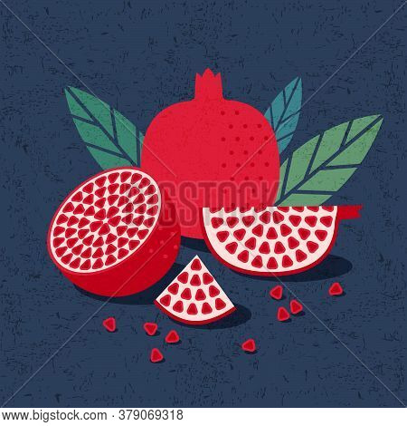 Pomegranate Illustration For Poster Or Packaging. Ripe Whole, Half Of Fruit And Pieces With Pomegran