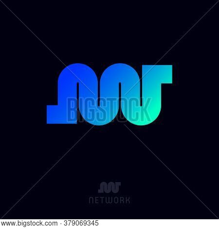 N And W Monogram. Network Logo. Blue-azure Gradient Elements. This Logo Can Be Use For Business, Sof