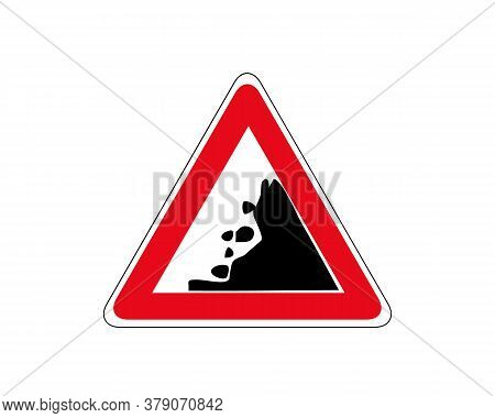 Danger Falling Rocks Traffic Sign. Road Isolated Icon. Falling Stones.