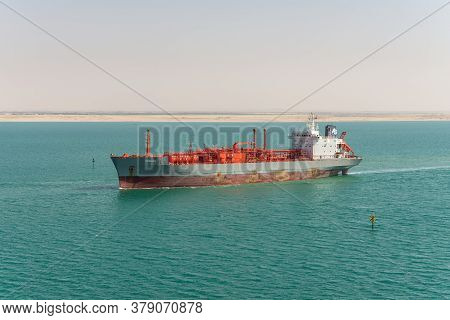Suez, Egypt - November 14, 2019: Lpg Tanker Vessel Ramagas Passing Suez Canal In Egypt. An Lpg Tanke