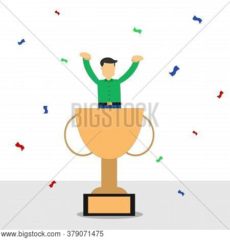 Illustration Vector Design Of Businessman Successful About His Career