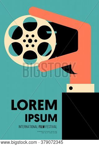 Movie And Film Poster Design Template Background With A Man Holding Film Reel. Design Element Can Be