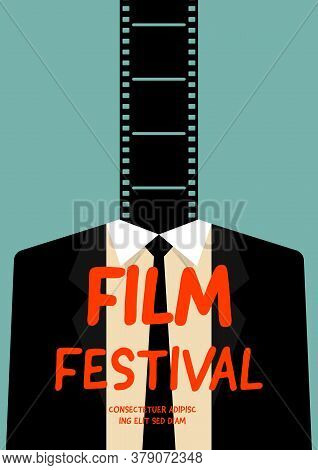 Movie And Film Poster Design Template Background With Filmstrip And Businessman. Design Element Can