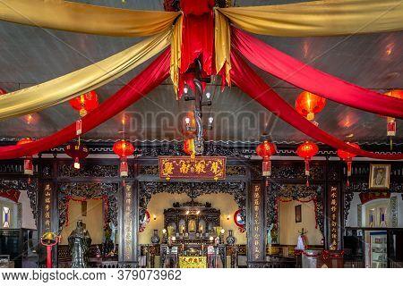 Surabaya, Indonesia - November, 04, 2017 Interior Of A Chinese Temple In Surabaya Java Indonesia