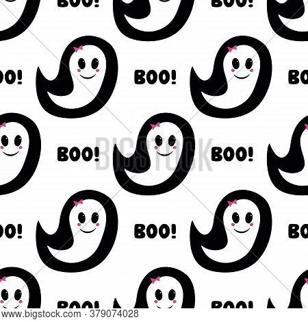 Cute Girl Ghost With Pink Blush, Bow And Boo Word. Halloween Seamless Pattern. Isolated On White Bac