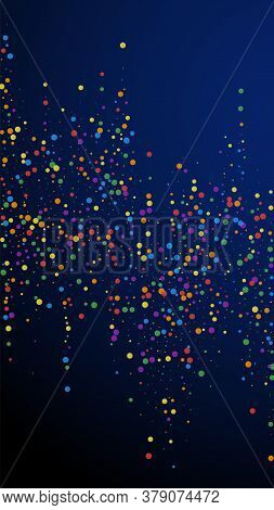Festive Posh Confetti. Celebration Stars. Colorful Confetti On Dark Blue Background. Fresh Festive O