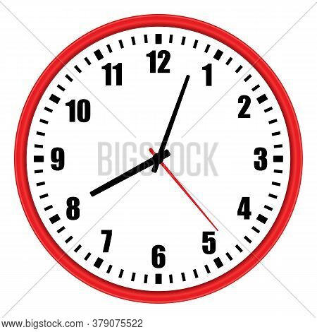 Vector Illustration Of One Modern Red Wall Clock With Arabic Numerals Over White Background, Low Ang