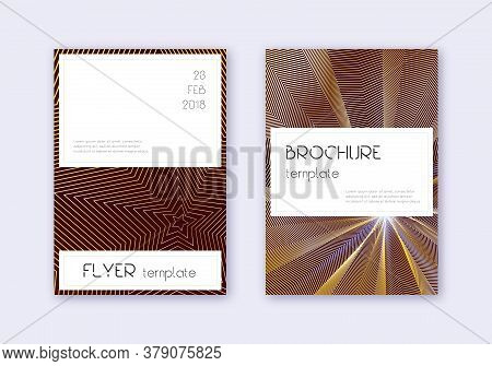 Stylish Cover Design Template Set. Gold Abstract Lines On Maroon Background. Favorable Cover Design.