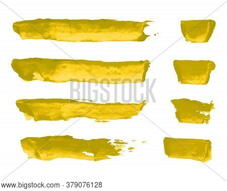Gold Watercolor Hand Painting Brush Stroke Smear Texture Kit. Abstract Grunge Glittering Collection.