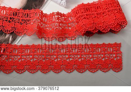 Tapes Of Red Gentle Guipure, Beauty Lace Fabric. Elastic Material. Using For Atelier And Needlework