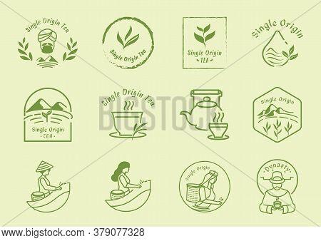 Single Origin Tea Badge Logo Design Set With Woman Harvest,mountain,organic Tea,hot Tea And Ceramic