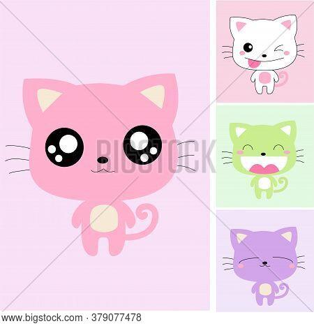 Cute Cat Or Kitty Cartoon Vector Set