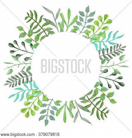 Round Vector Watercolor Frame With Tender Green Leaves And Branches. Summer Floral Circle Wreath For