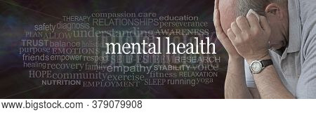 Mental Health And Ptsd Awareness Campaign For Men - Distraught Man With Head In Hands Against A Ment