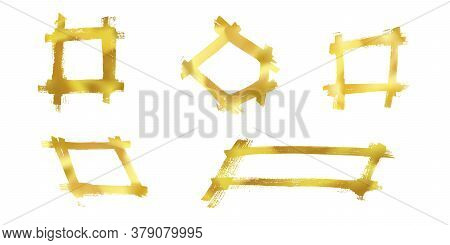 Set Of Bright Isolated Vector Golden Grunge Scratch Ink Brush Geometric Square Frames. Bronze Or Cop