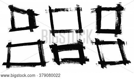 Set Of Isolated Vector Black Grunge Scratch Ink Brush Geometric Square Frames. Dirty Textured Hand D