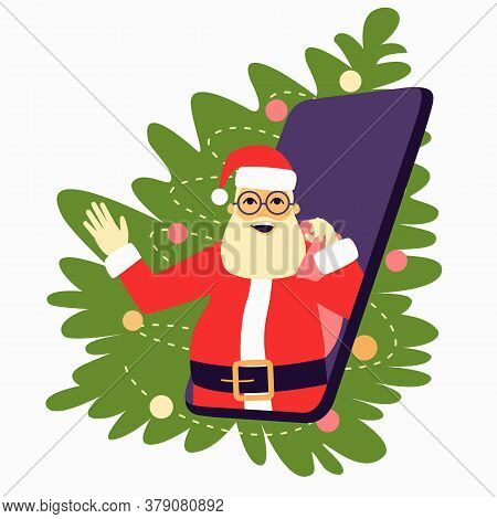 Cheerful Santa Claus With A Bag And Glasses Looks Out Of The Phone. Phone With Santa Claus On The Ba