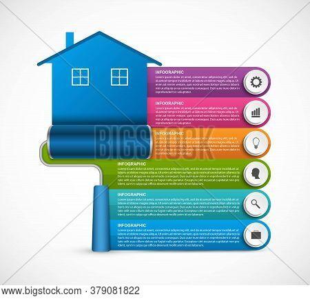 Options Infographics. Design Options Banner. House Drawn Roller Brush. Vector Illustration.