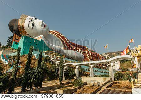 Win Sein Taw Ya, Myanmar - February 3, 2020. The Largest Reclining Buddha Statue In The World Near M