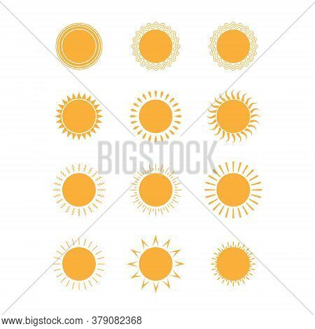 Sun. Set Of Icons, Collection Of Colored Sun Elements For Stickers, Stickers And Theme Design Vector