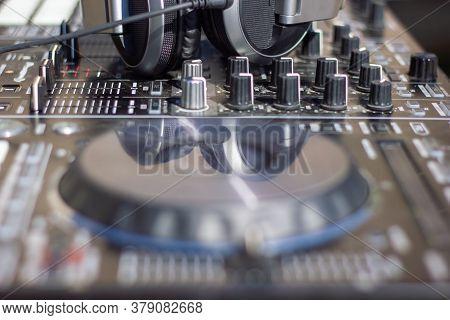Dj Mixer Close Up, Close Up Of A Dj Mixer