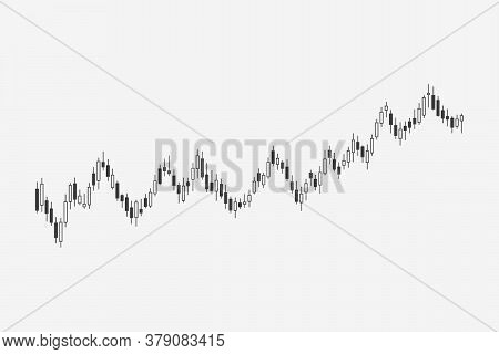 Candlestick Chart Stock Exchange Isolated On White Background. Graph Stock Market. Stock Indices. Fo
