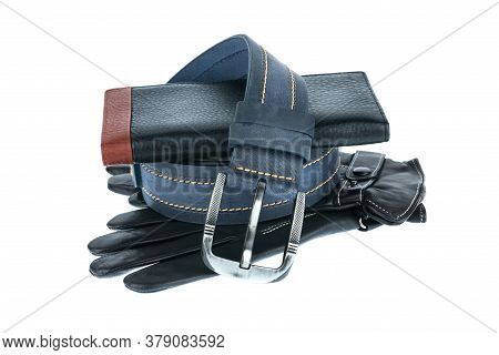 Mens Wallet, Belt And Gloves Lying On Top Of Each Other. Isolated On White Background