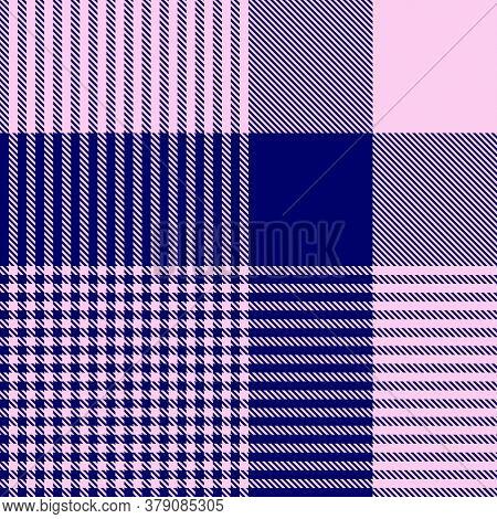 Pink Navy Glen Plaid Textured Seamless Pattern