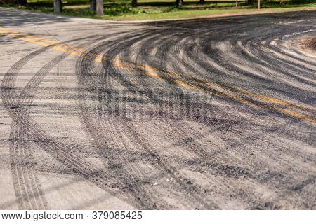 Stripe Of Car Wheel From Asphalt On The Road In The Renovation Process