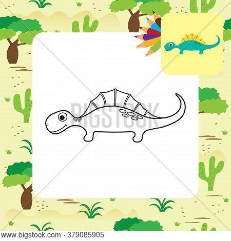 Cute Cartoon Dino Coloring Page. Vector Illustration