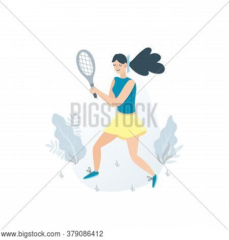 Tennis Vector Illustration Sportswoman Holding Rackets And Hitting Ball