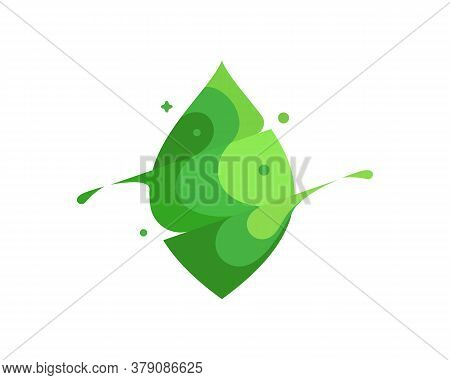 Leaf Colorful Modern Minimal Style Illustration. Green Eco Icon Logo Splash Concept Explosion With D