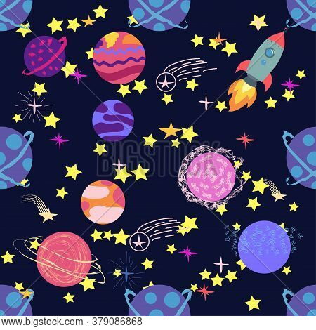 Seamless Space Pattern. Planets, Rockets And Stars. Cartoon Spaceship. Childish Background. Hand Dra