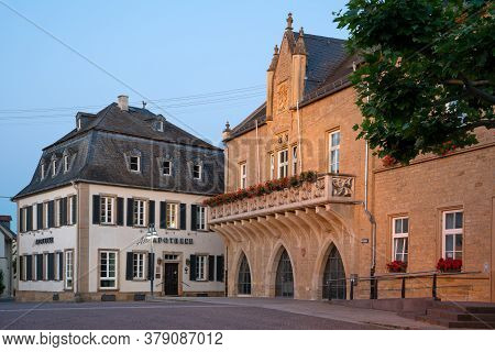 Bad Sobernheim, Germany - June 25, 2020: Panoramic Image Of The Market Square Of Bad Sobernheim With