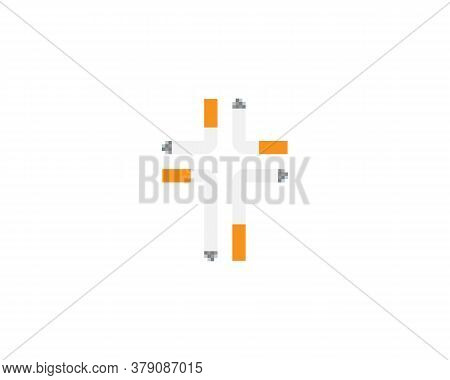 Cross Of Four Cigarettes Logo On White Background. Creative Illustration Of Harm Of Smoking. Smoking
