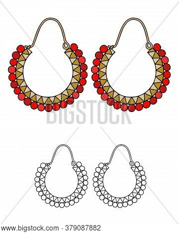 Handmade Jewelry In Ethnic Style: Round Earrings With Red Beads. Vector Illustration Isolated On A W
