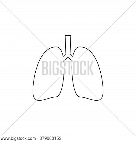 Lungs Line Icon. Human Internal Organ. Simple Black Vector Illustration Isolated On White